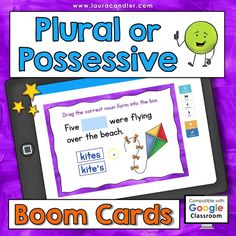 Plural or Possessive Nouns digital, self-checking Boom Cards are a fun way to review, practice, or assess the usage of plural and possessive noun forms. These interactive task cards are perfect for classroom use or for remote learning at home! #BoomCards #PluralNouns #PossessiveNouns #DigitalTaskCards Engage In Learning, Learning Resources, Teacher Hacks, Best Teacher, Active Engagement, Possessive Nouns, Grammar And Punctuation, Education System