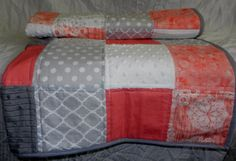 Baby Quilt, Lap Quilt, or Throw,  Coral, Gray, White, Really Pretty and Unique, Violet Craft Brambleberry Ridge Knots & Loops