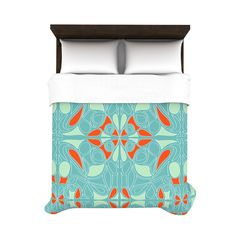 Rise Duvet Cover - Green and Orange | dotandbo.com