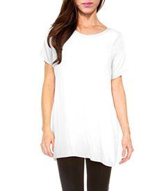 afe53f16 Womens Short Kimono Sleeve Loose Fit Tunic Top KT44334 WHITE L Short  Kimono, Little White