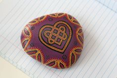 Celtic Knot Heart Dot Painted Rock by JandEDesigns on Etsy, $35.00