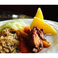 Stew pork Jamaican Dishes, Stew, Grains, Pork, Rice, Meals, Chicken, Kale Stir Fry, Meal