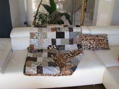Plaids & patchwork, LUXUEUX PLAID PATCHWORK FOURRURE MINKY est une création orginale de LES-BRICOLES-DE-MARTINE sur DaWanda