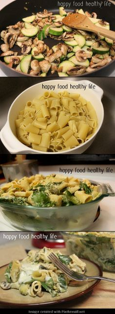 Creamy Zucchini and Spinach Rigatoni