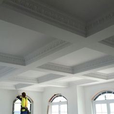 Egg & Dart patterned cornice in a boxed ceiling