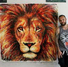 art, peintres, bleu, dessiné, dessin, oil, yeux, visage, vert, grr, coeur, encre, plaire, lion, amour, teinture, peinture, raw, rawr
