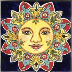Sunface ceramic plaque