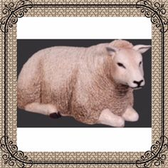 """Life Size Resin Sheep Lying Down is handcrafted resin and painted a realistic off-white color. Life Like Sheep prop display measures 41""""l x 20""""w x 20""""h and weighs approx 38 lbs. Shipping is Included in Price! Beautiful, well designed unique sheep that is a complete replica. Get yours today."""