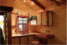 10x24 kitchen layout idea and love the lights in the rafters