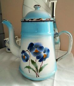 French Classic Vintage Aquamarine Enamel Coffee by uniqueenamel Coffee Equipment, Romantic Times, French Classic, Blooming Plants, Vintage Coffee, Very Lovely, Rustic Charm, Pansies, Vintage Kitchen