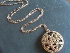 GoLD FiLiGRee PeNDaNT NeCKLaCe/ Antiqued gold by Ivanwerks on Etsy