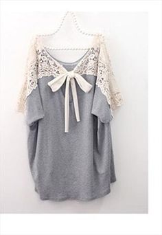 Cute Oversize blouse with crochet tie back