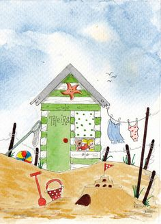 ORiGiNAL WaTERCoLoR PAiNTiNG signed KiD S BeACH HuT seascape teddy doll