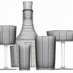 Frosted crystal with black bronzite décor, Hoffmann Glass Service, Series B Service, Josef Hoffmann, 1912 (Produced by J & L Lobmeyr)