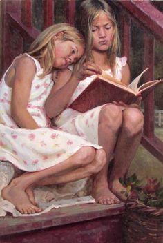Leitura de verão .Albin Veselka, Óleo sobre tela, 90 x 60 cm