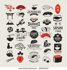 Sushi vintage design elements, logos, badges, label, icons and objects Logo Sushi, Sushi Menu, Sushi Design, Wallpaper Japanese, Logo Design Inspiration, Icon Design, Samourai Tattoo, Sushi Style, Etiquette Vintage