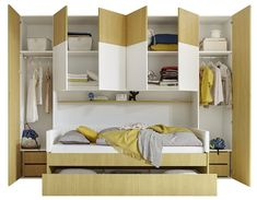 Yellow and white design bed deck NATHEO Bed Deck, Bedroom Cabinets, Bed Design, Bunk Beds, Yellow, Furniture, Home Decor, Products, Crafts
