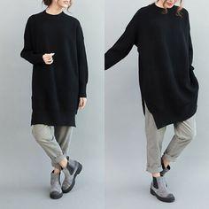 Women sweater knit sweater hem loose long-sleeved by qinbailiang