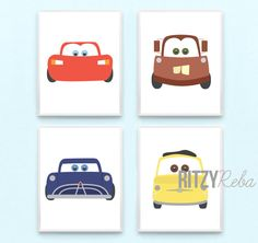 Disney Cars Nursery Boy Pixar Cars 2 Art Print Set of 4 - Tow Mater, Lightning McQueen, Doc Hudson, Guido by RitzyReba on Etsy https://www.etsy.com/listing/190644646/disney-cars-nursery-boy-pixar-cars-2-art