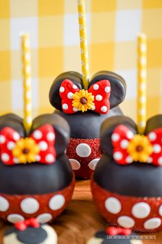 Large cupcake pops from Minnie Mouse Sunflower Garden Party at Kara's Party…