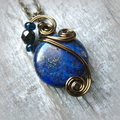 Lapis Lazuli Wire Wrapped Pendant Necklace in Antique Bronze by CareMoreCreations.com, $29.00