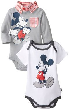 Disney Baby Boys Mickey Mouse 2-Pack Bodysuits