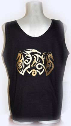 Black vest with golden dragons decoration by bumagaservice on Etsy, €18.15