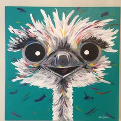 Fun whimsical art ostrich painting