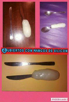 Realizar un mango de silicon, es una buena opcion para engrosar el mango de las cucharas y mejorar el agarre con presion cilindrica.