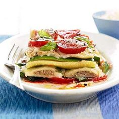 Ravioli-Vegetable Stacks