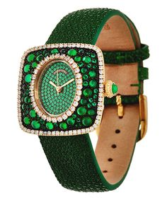 Take a look at this Judith Ripka Green Diamonique & Goldtone Watch today!