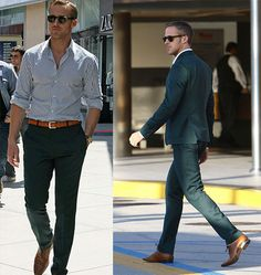 Nice stripe shirt, great fitting pant, nice shoe...perfect male attire. (Ryan Gosling)