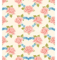 Seamless wallpaper pattern with roses vector - by sticknote on VectorStock®
