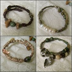 Set of 4 unique handmade bracelets, each decoratively wrapped with silk , wire, dangling charms, dozens of beads, gemstones, crystals, rhinestones, vintage buttons and more. Wear them individually, a pair, or all 4. . Very comfortable to wear, made to fit any size wrist . Gorgeous, rich shades of rich neutrals and mossy greens for a truly unique statement piece.