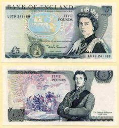 Great Britain Five Pound Banknote Queen Elizabeth and Duke of Wellington Signed DHF Somerset Prefix 700 million add hw 1970s Childhood, My Childhood Memories, Sweet Memories, Edinburgh, Money Notes, Old Money, Herzog, Thinking Day, The Good Old Days