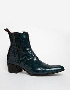 Jeffery West Snake Chelsea Boots in Blue