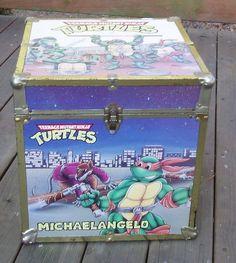 Rare 1980's Teenage Mutant Ninja Turtle TMNT Toy Box CHEST Trunk LARGE Hinged