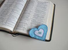 Blue Felt Heart Bookmark