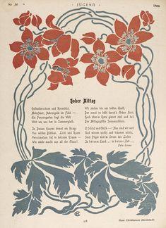 Illustration by Hans Christiansen, with poetry by Felix Lorenz, for Jugend magazine, 1899 Belle Epoque, Heidelberg University, Satire, Art Nouveau Illustration, Art Nouveau Pattern, Jugendstil Design, Canvas Art, Canvas Prints, Black And White Flowers