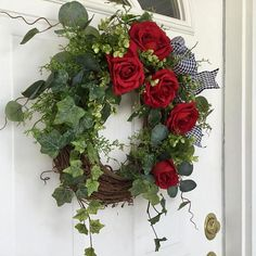 Valentines Day Wreath-Spring Wreath-Wreath-Ivy Wreath-Red Rose Wreath-Front Door Wreath-Wedding Wreath-Mothers Day Wreath-Garden Wreath This lovely, elegant wreath is perfect for Valentines Day, but can also be displayed year round. Deep red roses Adorn a narural grapevine wreath #valentinerose