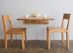 A wall mounted table from LAX - pretty cool for tight kitchen spaces! Like with different chairs. Could build this and make it fold down when not in use.