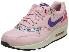 100% authentic 54bec 26ea4 Nike Air Max 1 Print Womens 528898-601 Pink Aloha Floral Running Shoes Size  6.5