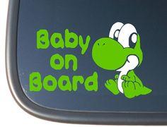 Super Mario Baby Yoshi BABY ON BOARD Vinyl by OffTheWallVinylDecor, $4.99