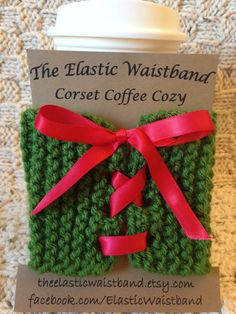 Green Holiday Knit Corset Style Coffee Cozy by TheElasticWaistband