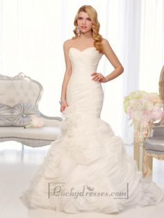 Organza Sweetheart Trumpet Wedding Dresses with Pleated Bodice and Layers Skirt Sale On LuckyDresses.com With Top Quality And Discount