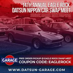Want to save on shipping? FREE local pickup available @ Eagle Rock Datsun Nippon Swap Meet on Sunday March 15.  Use coupon code EAGLEROCK on our website and we'll bring your order so you can pick it up in person.  The show and swap meet run from 7am-2pm at the Eagle Rock Recreation Center parking lot in Los Angeles CA… Eagle Rock, Parking Lot, Pick Up, Nissan, Coupons, Coding, Events, Website, Photos