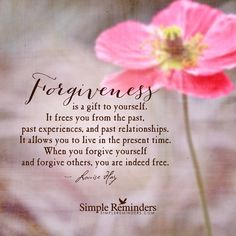 Forgiveness is a gift to yourself. It frees you from the past, past experiences, and past relationships. It allows you to live in the present time. When you forgive yourself and forgive others, you are indeed free. — Louise Hay