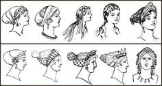Greek women would use gold, silver hain pins, cone headress and tiaras.  Men used their hair long and in curls.