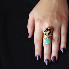Nile Lotus on agate and turquoise on a handcrafted gold plated ring...loving the double stone!