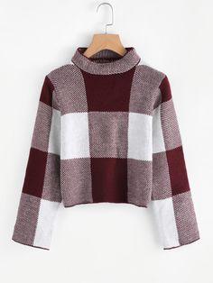 High Neck Gingham Crop Sweater